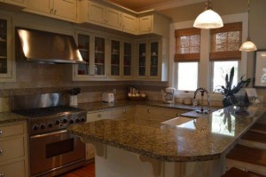 Spacious gourmet kitchen with granite countertops